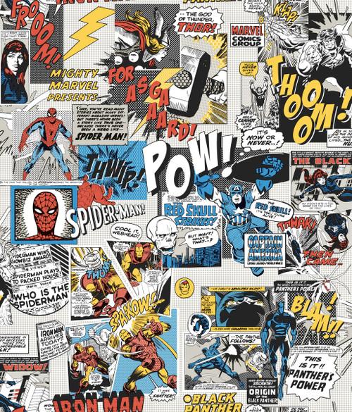 York Wallcoverings DI0944 Marvel Comics Pow! Wallpaper Black/Blue/Red