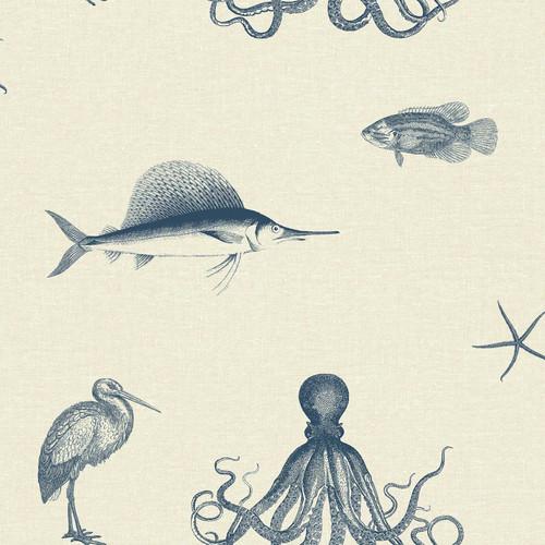 Chesapeake by Brewster 3113-12015 Seaside Living Oceania Taupe Sea Creature Wallpaper