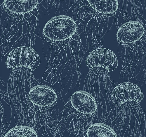 York Wallcoverings CM3326  Atolla Wallpaper - Blue Blue