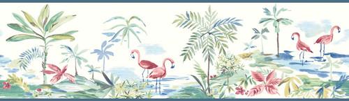 Chesapeake by Brewster 3113-12222B Seaside Living Lagoon Teal Watercolor Border