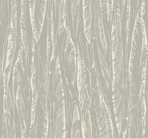 York Wallcoverings OG0582 Antonina Vella Elegant Earth Native Leaves Wallpaper Gray