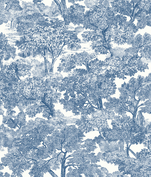 Chesapeake by Brewster 3115-12543 Spinney Blue Toile Wallpaper