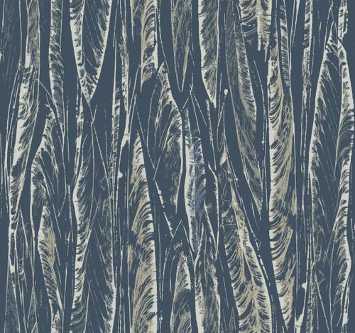 York Wallcoverings OG0581 Antonina Vella Elegant Earth Native Leaves Wallpaper Navy