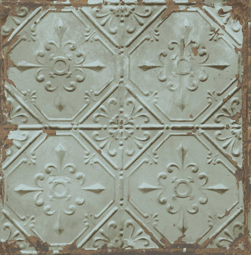 A-Street Prints by Brewster 2701-22331 Reclaimed Tin Ceiling Teal Distressed Tiles Wallpaper
