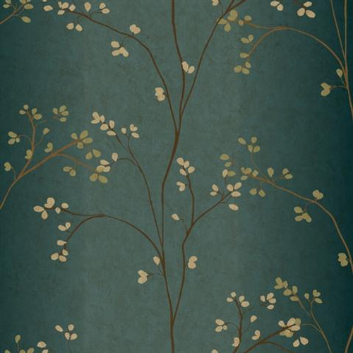 York Wallcoverings BR6224 Blossoms Prepasted Wallpaper, Teal/Bronze - Ultra Removable