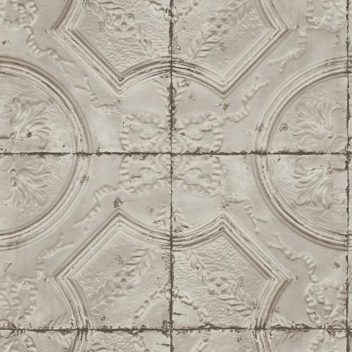 Chesapeake by Brewster 3115-12433 Deerfield Taupe Vintage Tin Tile Wallpaper