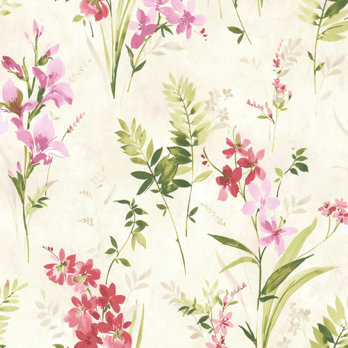 Beacon House by Brewster 2605-21627 Rosemore Henrietta Pink Watercolor Floral Wallpaper
