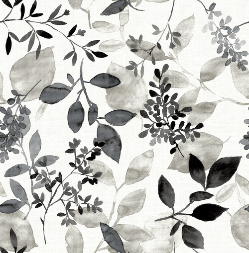 A-Street Prints by Brewster 2716-23866 Eclipse Gossamer Black Botanical Wallpaper