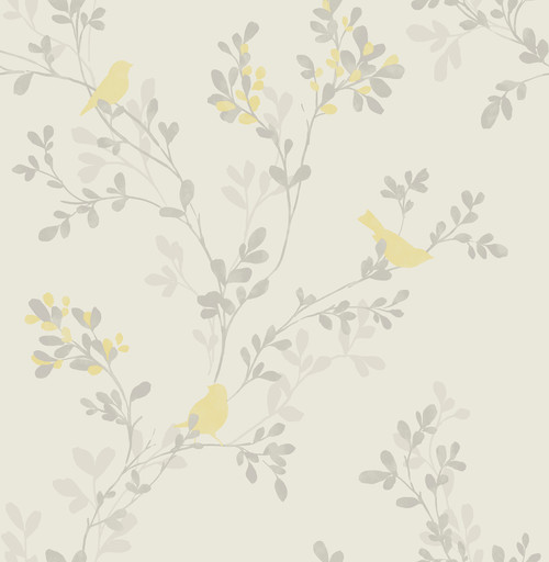 Brewster 2704-41262SW For Your Bath III Chirp Yellow Birds & Trees Wallpaper