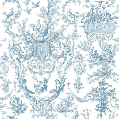 York Wallcoverings AT4241 Blue Book Old World Toile Wallpaper Blue/White
