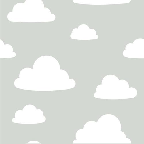 NuWallpaper by Brewster NU1931 Clouds Grey Peel & Stick Wallpaper