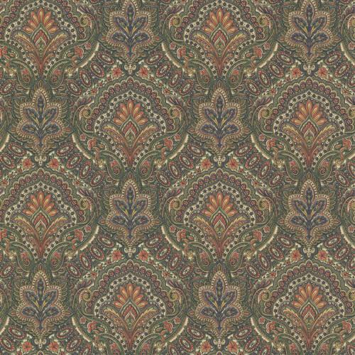 Beacon House by Brewster 2604-21220 Oxford Cypress Sage Paisley Damask Wallpaper