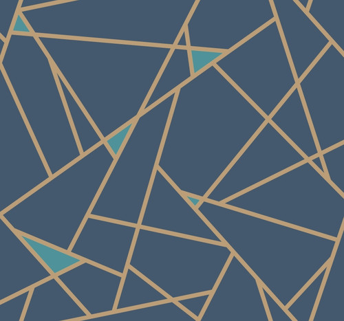 York Wallcoverings Risky Business 2 RY2704 Prismatic Removable Wallpaper; Navy Blue/Metallic Gold