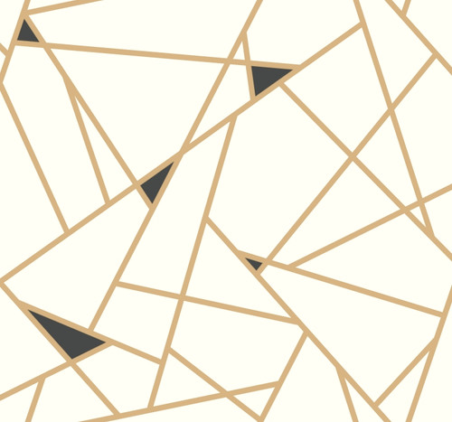 York Wallcoverings Risky Business 2 RY2702 Prismatic Removable Wallpaper; Metallic Gold/Black/White