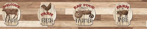 YorkLG1395BDRustic Living Wallpaper Collection,Farm Fresh Border - Reds
