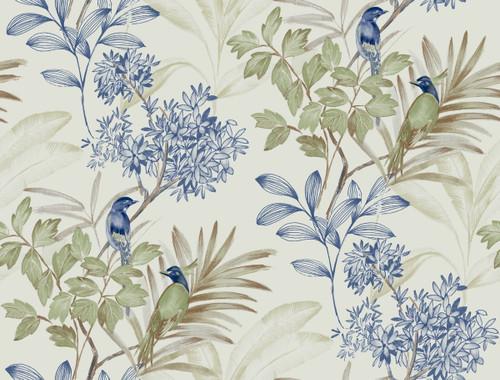 York Handpainted Songbird Wallpaper Green/Blue TL1928 Handpainted Traditionals