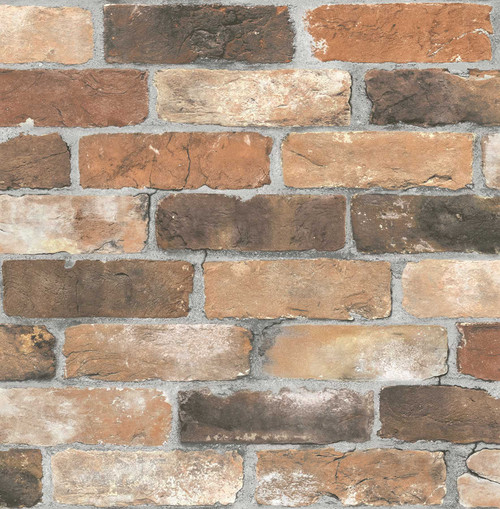 A-Street Prints by Brewster 2701-22300 Reclaimed Bricks Orange Rustic Wallpaper