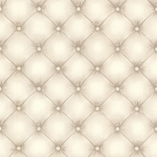 Beacon House by Brewster 2604-21233 Oxford Chesterfield Off-White Tufted Leather Wallpaper