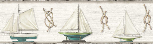 Chesapeake by Brewster 3113-12202B Seaside Living Set Sail Grey Boat Border