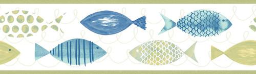 Chesapeake by Brewster 3113-12212B Seaside Living Key West Green Fish Border