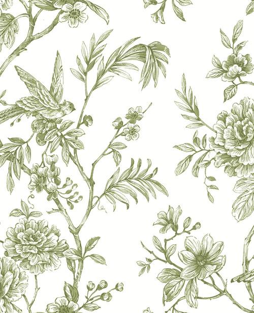 A−Street Prints by Brewster 2763-24234 Moonlight Jessamine Green Floral Trail Wallpaper