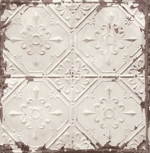 A-Street Prints by Brewster 2701-22332 Reclaimed Tin Ceiling Beige Distressed Tiles Wallpaper