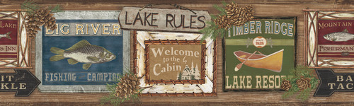 YorkLG1451BDRustic Living Wallpaper Collection,Lake Rules Border - Oak/Multi