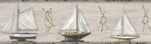 Chesapeake by Brewster 3113-12203B Seaside Living Set Sail Beige Wood Border