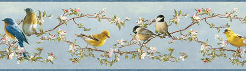 Chesapeake by Brewster 3118-48511B Birch & Sparrow Songbird Multicolor Floral Trail Border