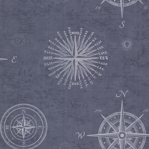 Beacon House by Brewster 2604-21213 Oxford Navigate Ocean Vintage Compass Wallpaper