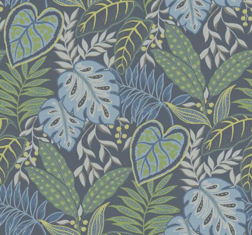 A-Street Prints by Brewster 2785-87424 Indigo Jasmine Wallpaper Blue