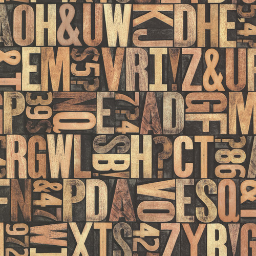 Beacon House by Brewster 2604-21250 Oxford Letterpress Sand Typography Wallpaper