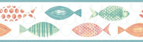 Chesapeake by Brewster 3113-12211B Seaside Living Key West Orange Fish Border