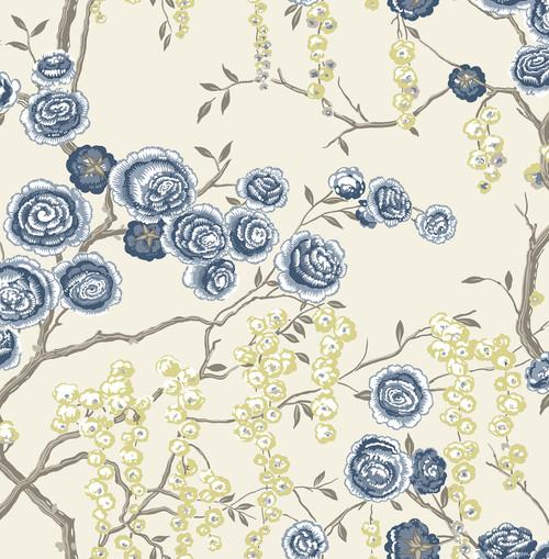 A-Street Prints by Brewster 2785-24830 Indigo Peony Tree Wallpaper Blue
