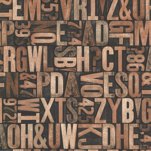 Beacon House by Brewster 2604-21249 Oxford Letterpress Brown Typography Wallpaper