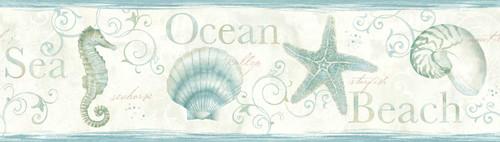 Chesapeake by Brewster 3113-53562B Seaside Living Island Bay Teal Seashells Border