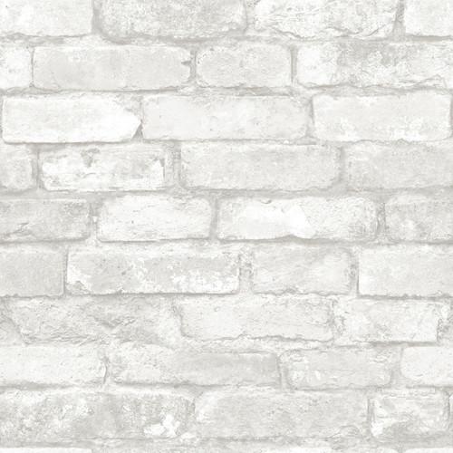 NuWallpaper by Brewster NU3010 Grey and White Brick Peel & Stick Wallpaper