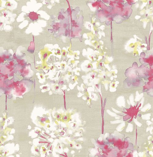A-Street Prints by Brewster 2656-004019 Marilla Pink Watercolor Floral Wallpaper