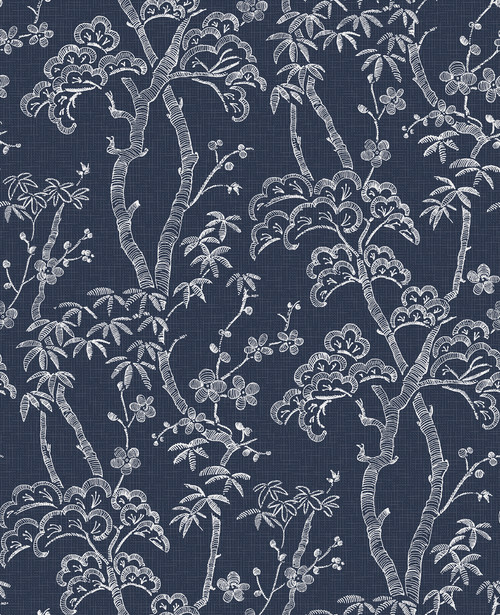 A-Street Prints by Brewster 2764-24350 Mistral Bonsai Navy Tree Wallpaper