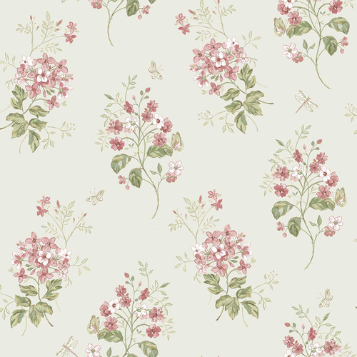 Chesapeake by Brewster 3112-002701 Sage Hill Beverly Pink Floral Wallpaper