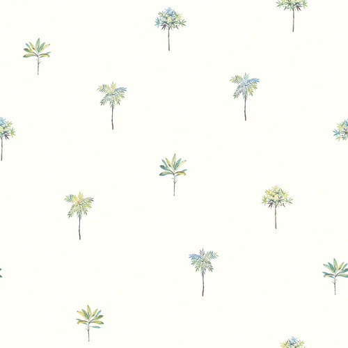 Chesapeake by Brewster 3113-12062 Seaside Living Palmetto Teal Leaves Wallpaper