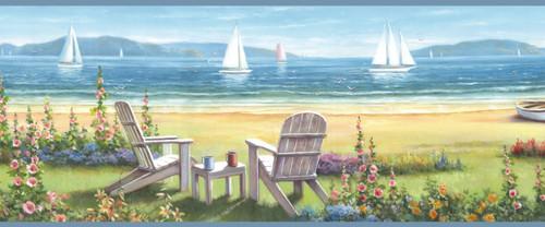 Chesapeake by Brewster BBC20021B Regatta Blue Seaside Cottage Portrait Border