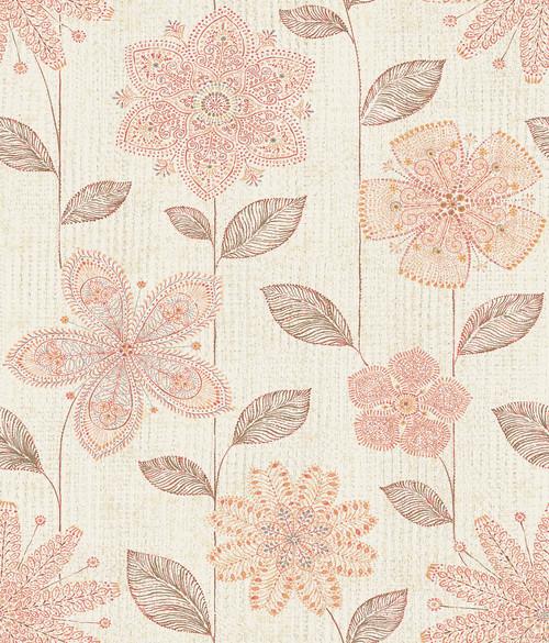 A-Street Prints by Brewster 1014-001813 Kismet Maisie Coral Batik Flower Wallpaper