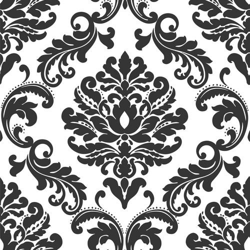 NuWallpaper by Brewster NU1646 Ariel Black and White Damask Peel & Stick Wallpaper