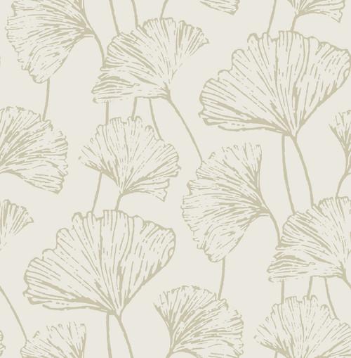 A-Street Prints by Brewster 2764-24317 Mistral Reverie Grey Ginkgo Wallpaper