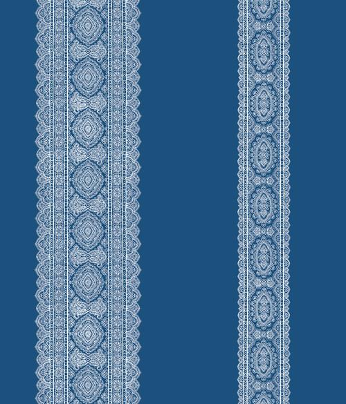 A-Street Prints by Brewster 1014-001832 Kismet Brynn Indigo Paisley Stripe Wallpaper