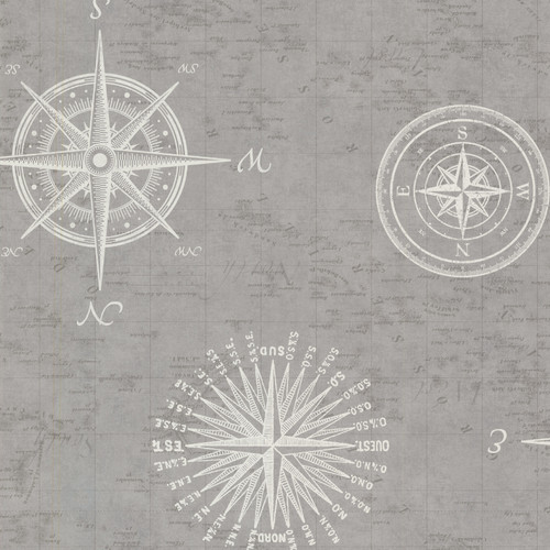 Beacon House by Brewster 2604-21216 Oxford Navigate Grey Vintage Compass Wallpaper