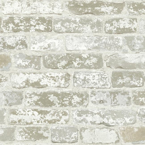 York Wallcoverings RB4304 White Brick Prepasted Removable Wallpaper