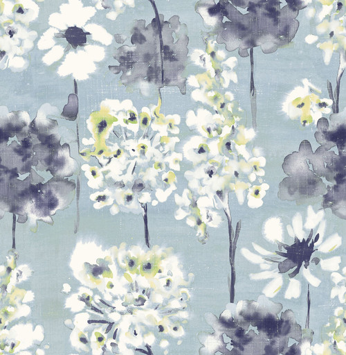 A-Street Prints by Brewster 2656-004002 Marilla Blueberry Watercolor Floral Wallpaper
