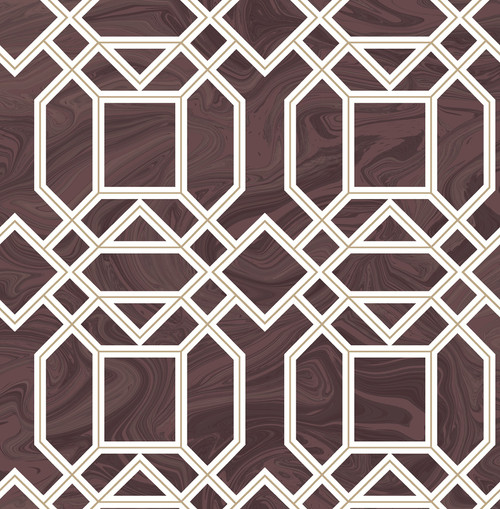 A−Street Prints by Brewster 2763-24223 Moonlight Daphne Maroon Trellis Wallpaper